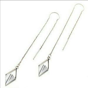 Silver Threader Dangle Earrings